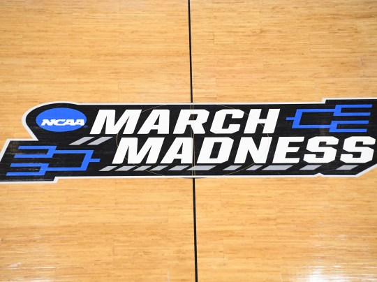 Mar 21, 2019; Salt Lake City, UT, USA; March Madness logo at mid court during the first half in the first round of the 2019 NCAA Tournament between the Baylor Bears and the Syracuse Orange at Vivint Smart Home Arena. Mandatory Credit: Kirby Lee-USA TODAY Sports