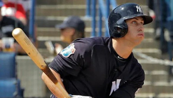 New York Yankees' Dustin Fowler hits a double off Toronto