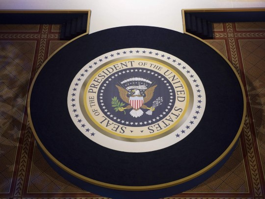 The Presidential seal is seen as a dance floor during