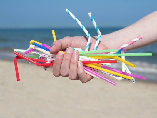 Close Up Of Hand Holding Plastic Straws Polluting Beach