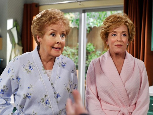 Georgia Engel, left, with Holland Taylor, guest star on