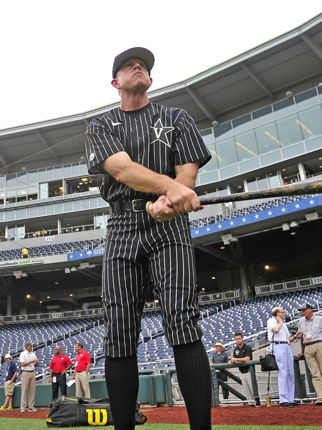 Vanderbilt coach Tim Corbin  before the warm-up against Cal State Fullerton on June 14, 2015 at the College World Series.
