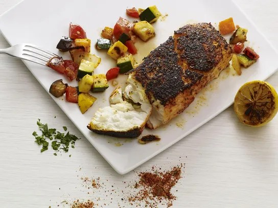 Plancha-grilled white fish with ratatouille.