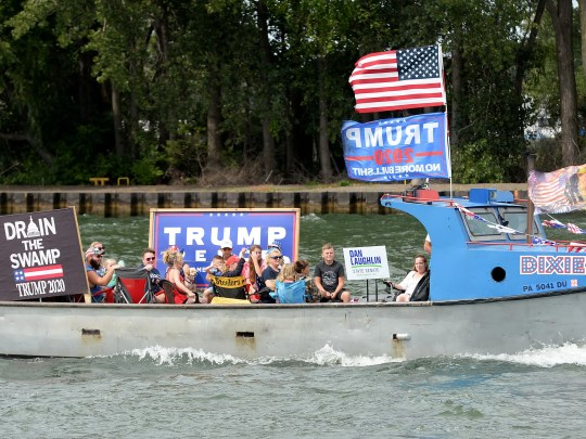 Participants prepare for a boat parade in support of President Donald Trump at Presque Isle Bay in Erie on Sept. 6, 2020. The parade started at the Presque Isle Lighthouse and ended at Dobbins Landing.