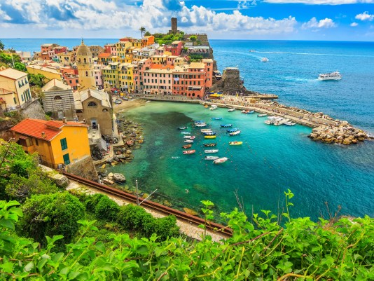 Colorful boats in the bay,Vernazza,Cinque Terre,Italy,Europe