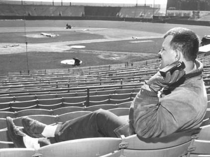 County Stadium employee Eugene Sabinash listens to