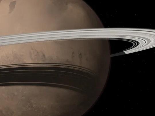 Artists' renderings of Mars with rings.