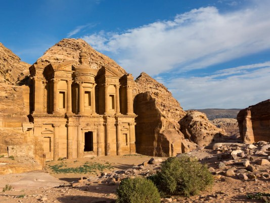 Ancient abandoned rock city of Petra in Jordan