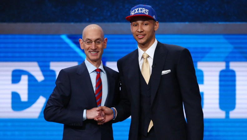 Ben Simmons (LSU) greets NBA commissioner Adam Silver after being selected as the number one overall pick to the Philadelphia 76ers in the first round of the 2016 NBA Draft at Barclays Center.