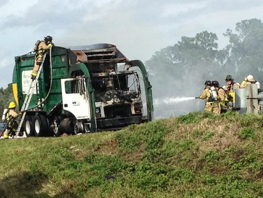 Traffic moving after garbage truck fire near Cocoa
