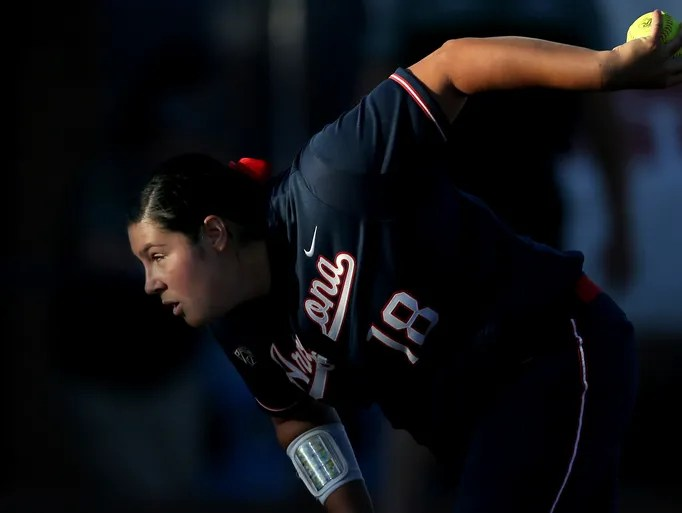 Arizona starting pitcher Taylor McQuillin (18) winds