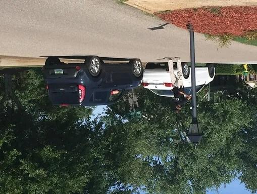 Police guard the street in a Hixson, Tenn., neighborhhod