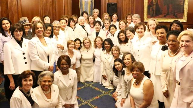 Image result for images of congress women with white clothings on Feb. 28, 2017