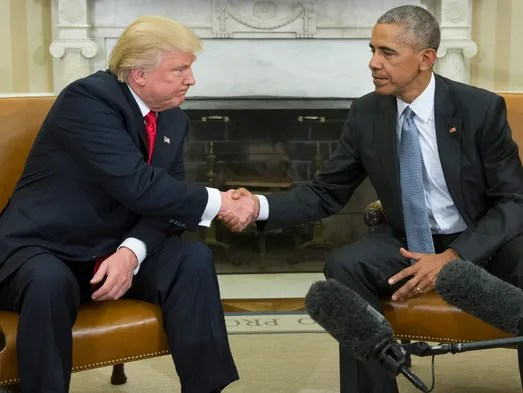 President Obama shakes hands with  President-elect