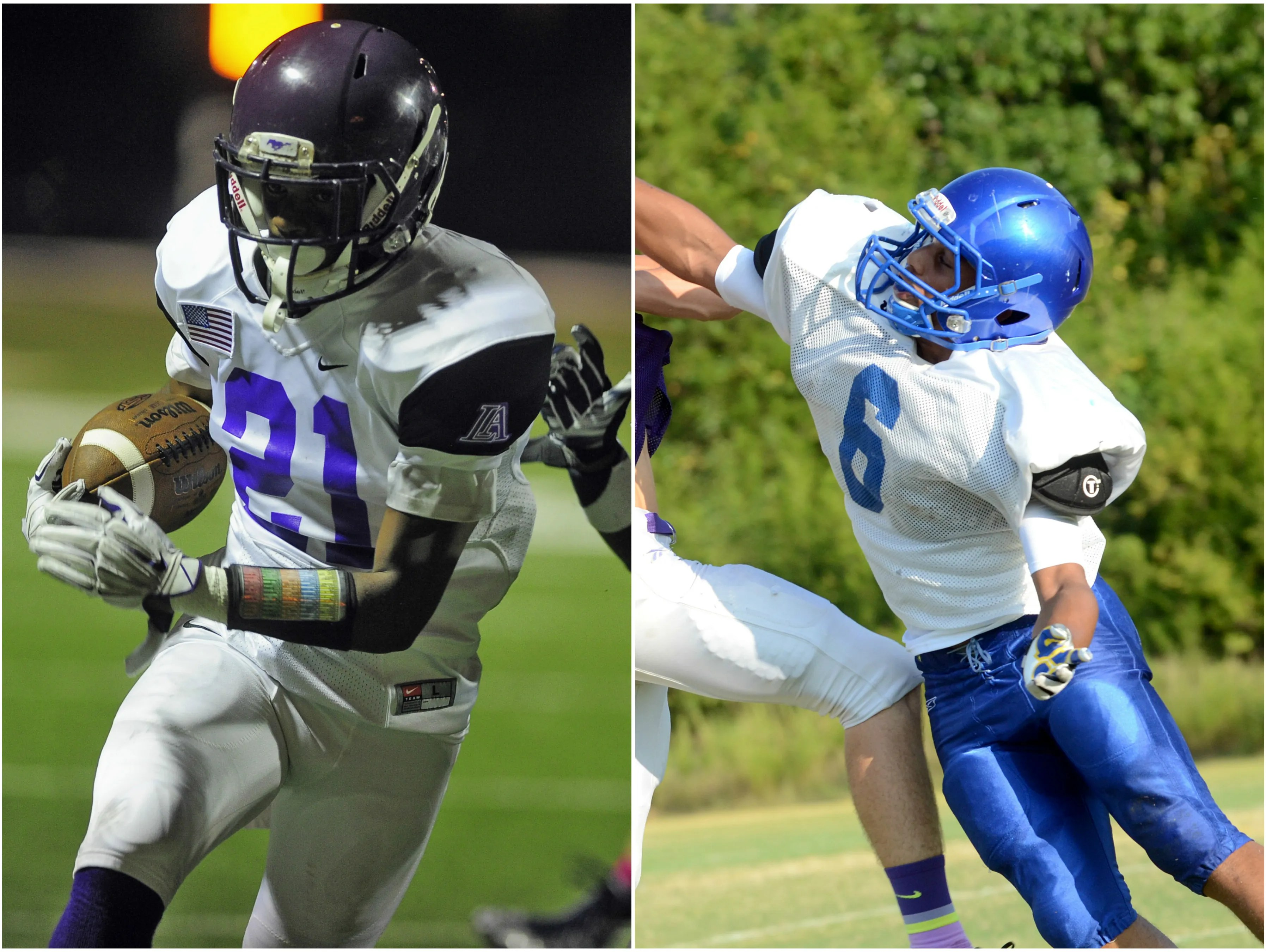 Lipscomb running back William Phillips (left) and Goodpasture running back Jermaine Mason (right).