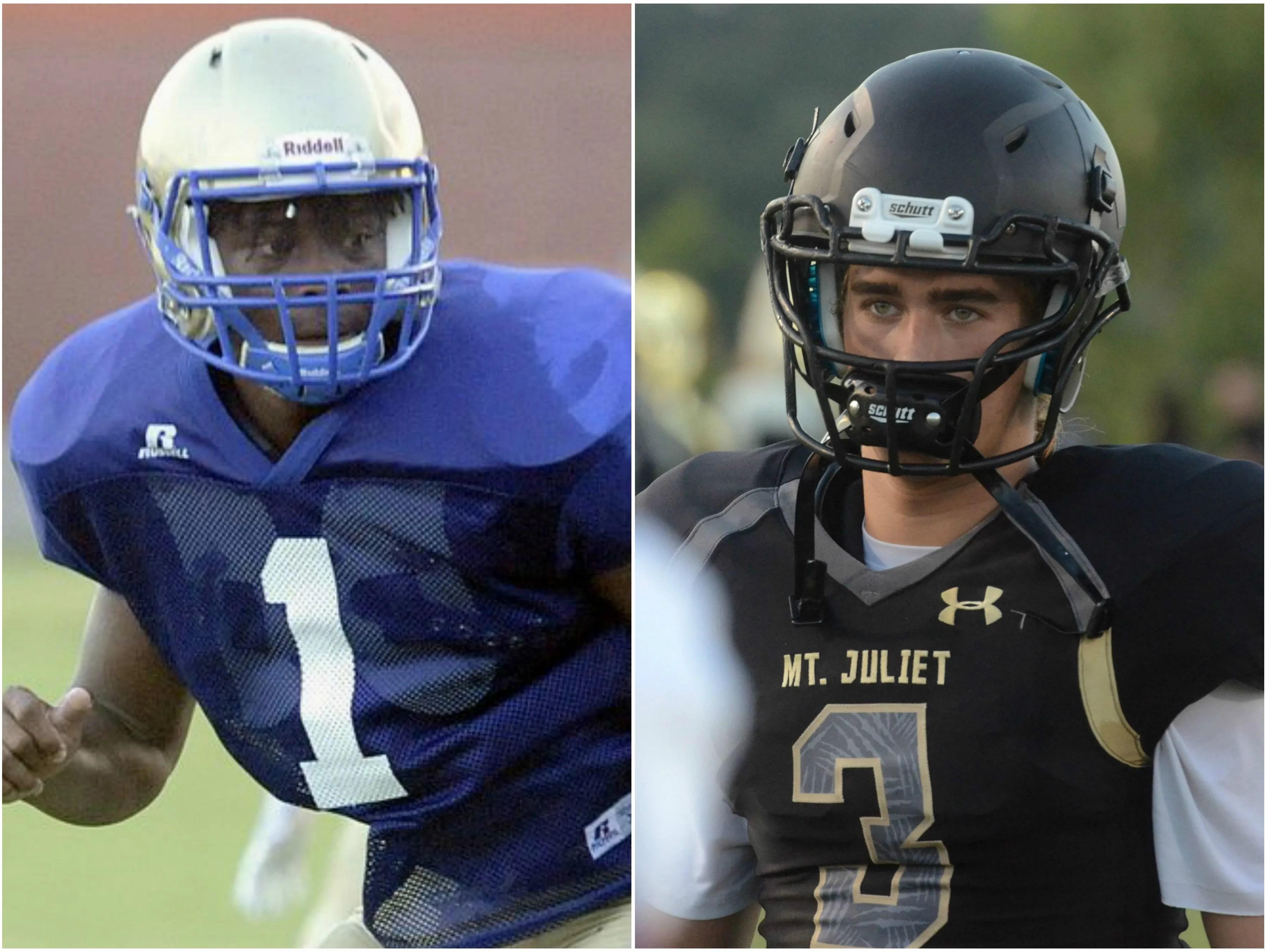 Wilson Central linebacker T.J. Minnifee (left) and Mt. Juliet quarterback Mason Earls (right).