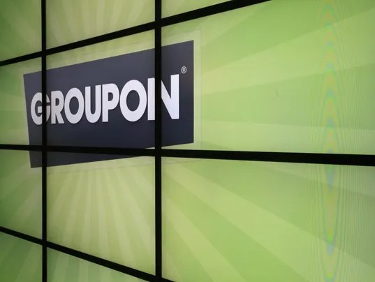 Groupon logo inside the online coupon company's offices in Chicago