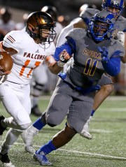 Melvin Robinson from Angelo State moved to handle UTPB Falcon on Saturday night.