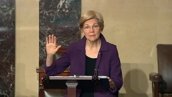 In this image from Senate Television, Sen. Elizabeth