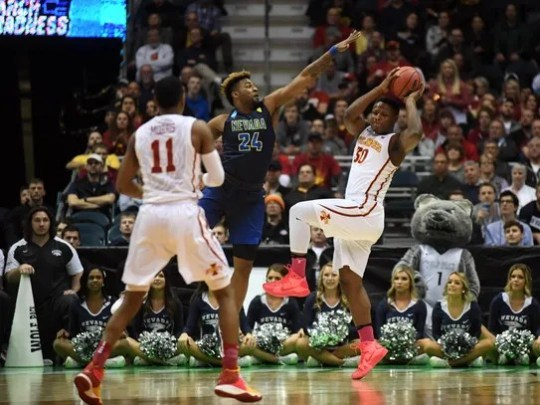 Iowa State guard Deonte Burton looks to pass to Monte