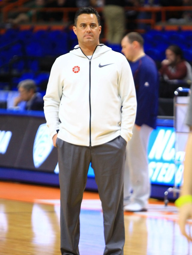 Mar 14, 2018: Arizona Wildcats head coach Sean Miller looks on during the practice day before the first round of the 2018 NCAA Tournament at Taco Bell Arena.