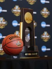 Final Four ball and National Champion trophy during
