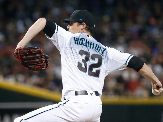 Diamondbacks Clay Buchholz (32) pitches against the