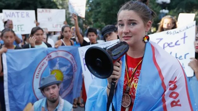 Shailene Woodley and Native American children from North Dakota participate in the Stop the Dakota Access Pipeline protest in Union Square on August 7, 2016 in New York City.