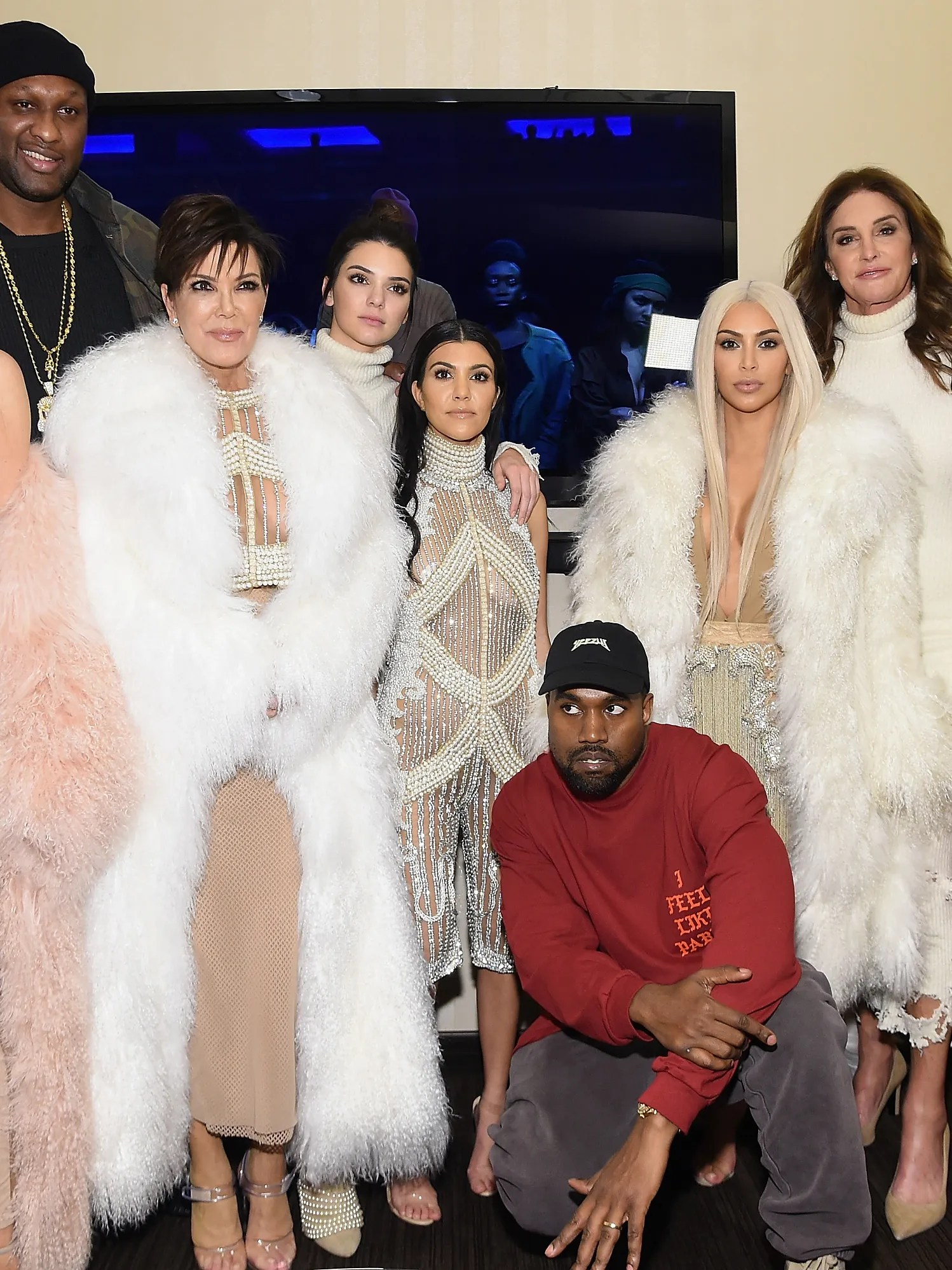Gangs all here. Khloe Kardashian, Lamar Odom, Kris Jenner, Kendall Jenner, Kourtney Kardashian, Kanye West, Kim Kardashian, Caitlin Jenner and Kylie Jenner attend Kanye West Yeezy Season 3 on February 11, 2016.