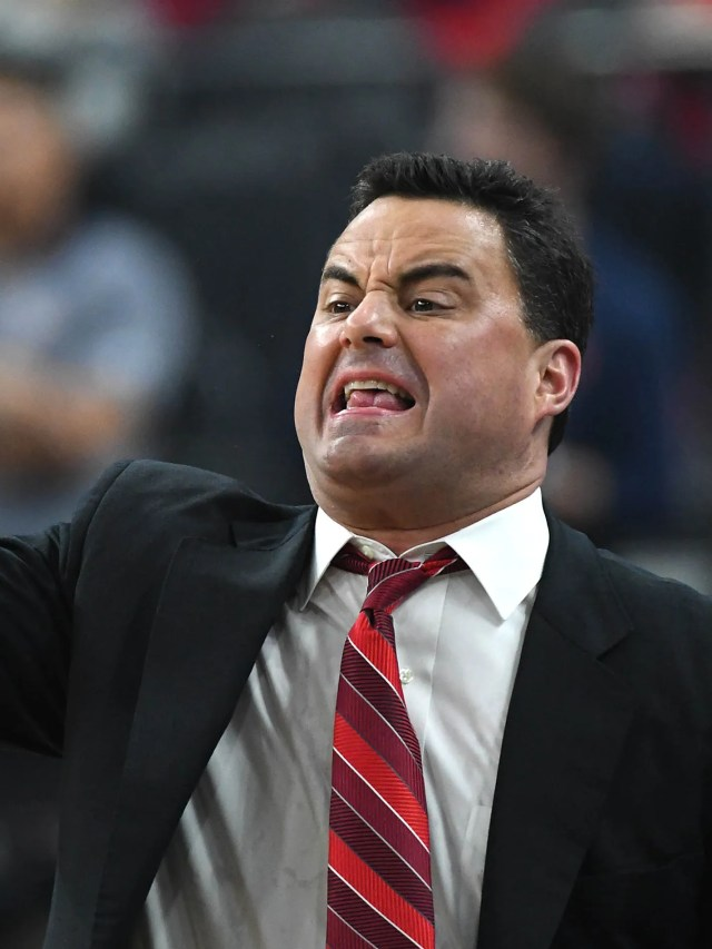 Mar 10, 2018; Las Vegas, NV, USA; Arizona Wildcats head coach Sean Miller shouts during the Pac-12 Tournament final between the Wildcats and the USC Trojans at T-Mobile Arena. Mandatory Credit: Stephen R. Sylvanie-USA TODAY Sports