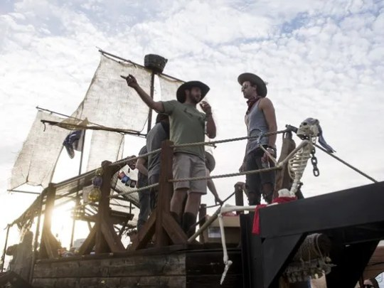 LANCO hangs out on a mobile bar fashioned as a pirate