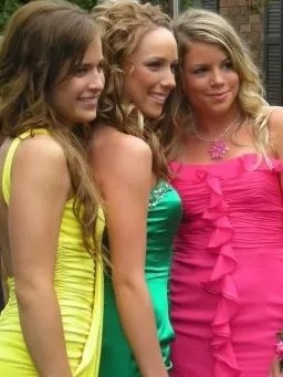 Brittany Sherfield, center, with high school friends.