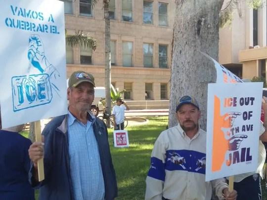 Jose Canchola, 72 (left), and Roberto Perez, 65, participate