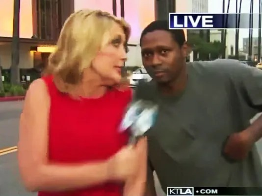 'Videobomber' gives reporter a good scare on live TV