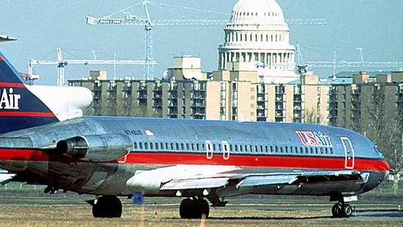 A file photo of a USAir Boeing 727 at Washington's