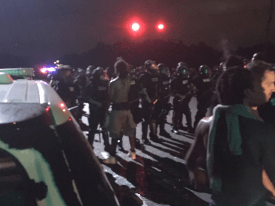Protesters face off with Charlotte-Mecklenburg Police