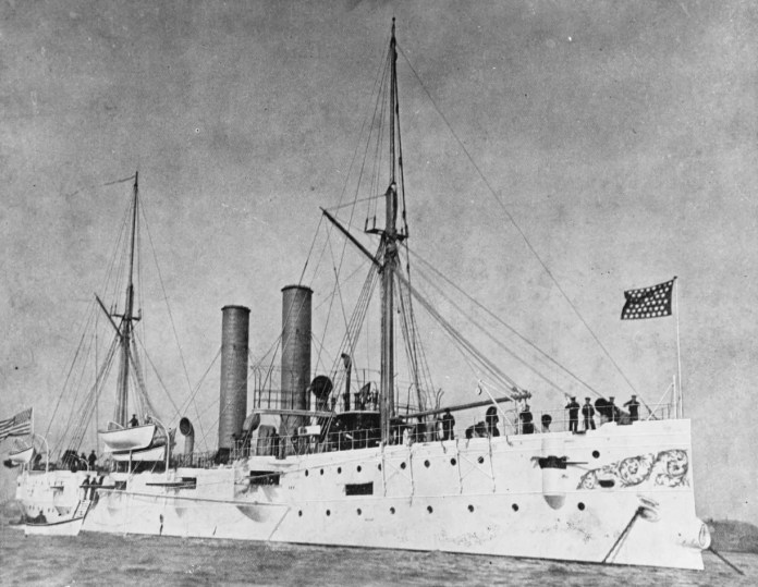 The third USS Detroit is seen in a photograph taken circa 1893-98, and published in Uncle Sam's Navy, 1898.