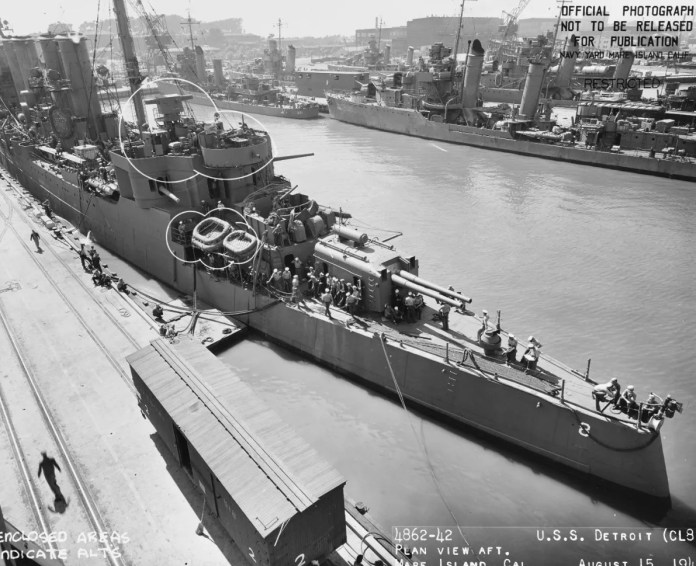 The fourth USS Detroit is seen in at the Mare Island Navy Yard in California in August 1942.