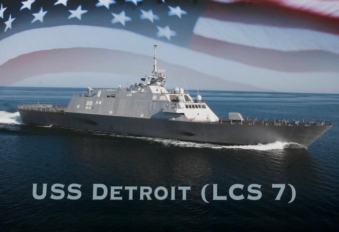 A poster of the sixth USS Detroit was shown during a news conference in Detroit, Oct. 10, 2011.
