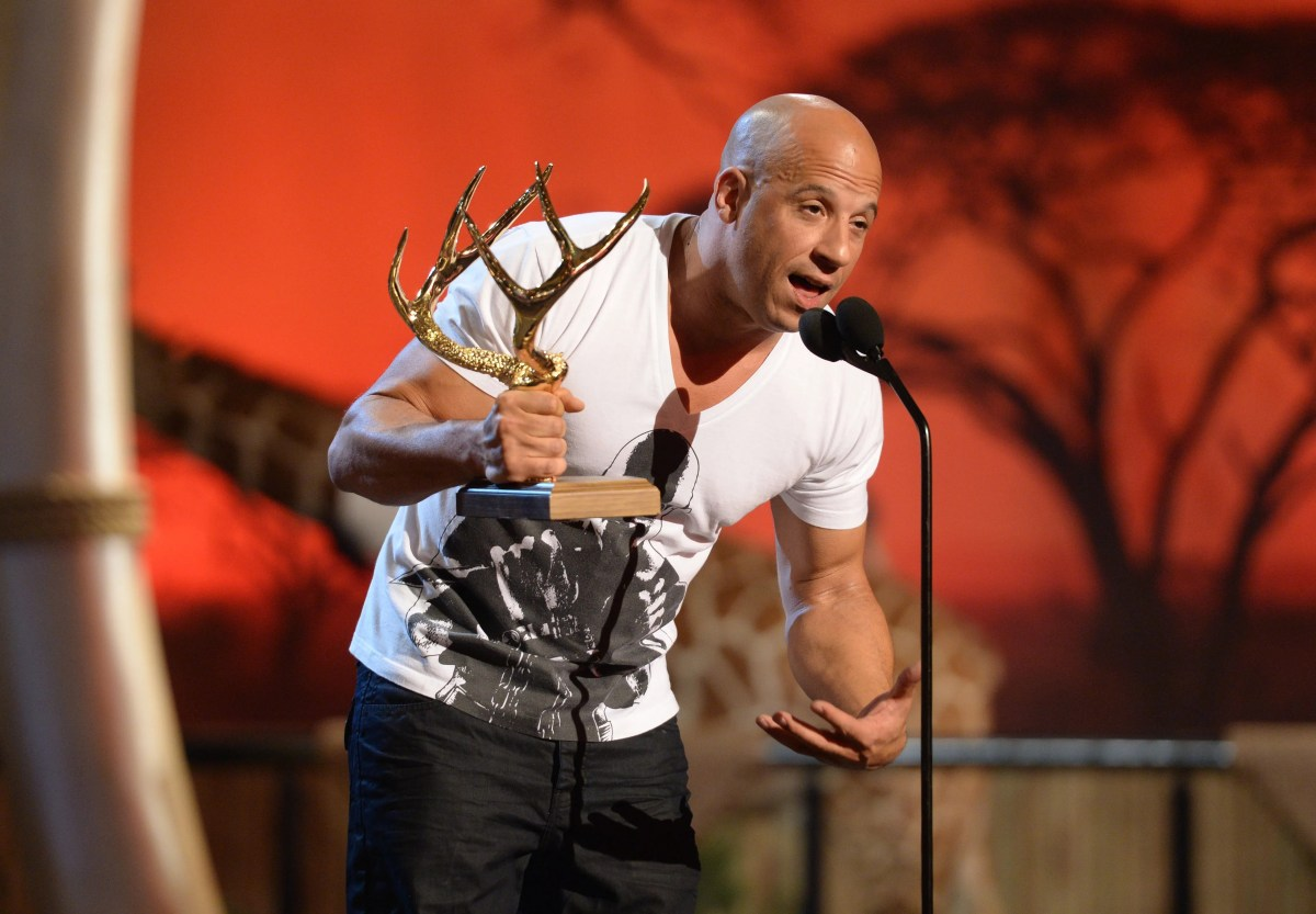 Diesel accepts the Troops Choice Entertainer of the Year award onstage during Spike TV's Guys Choice in 2013.