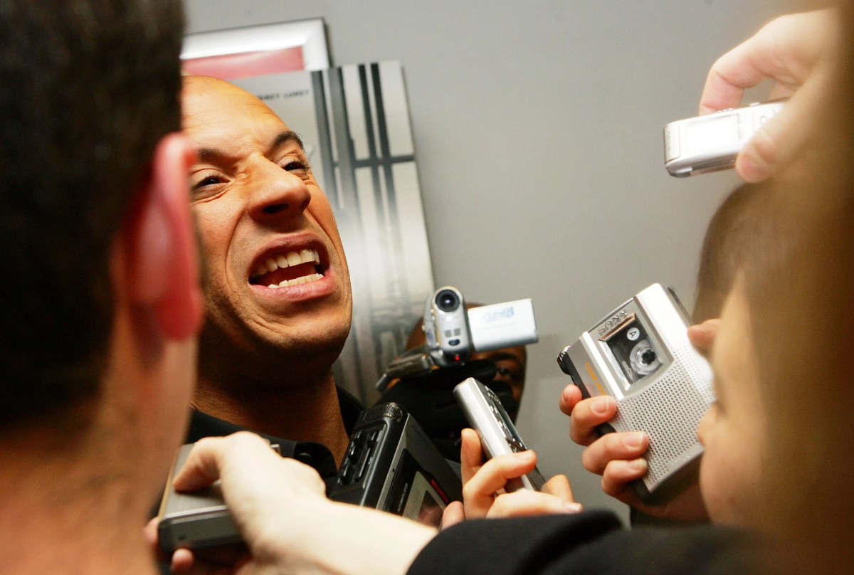 """Vin Diesel talks to media, as he arrives to the New York premiere of his film """"Find Me Guilty"""" in 2006."""