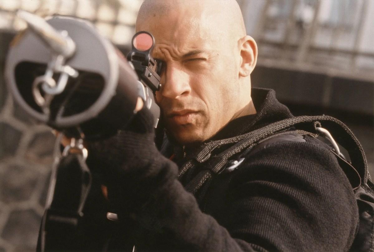 "Vin Diesel stars as Xander Cage, a thrill-seeking extreme sports athlete, in the 2002 thriller ""XXX."""