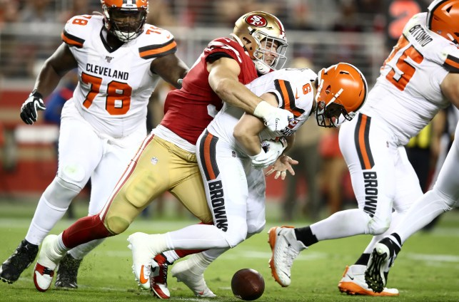 What was Nick Bosa saying to Baker Mayfield during the Browns vs. 49ers game?