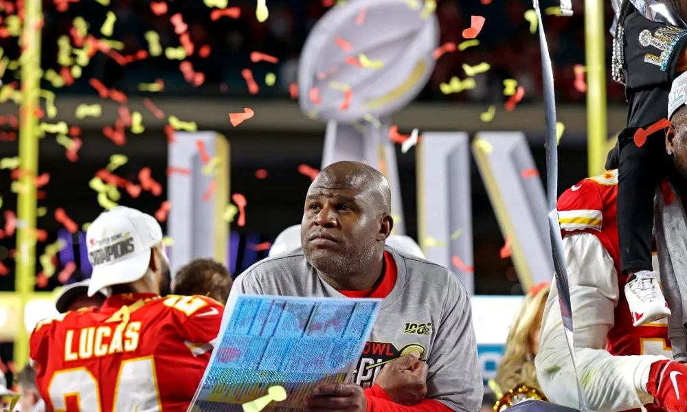 Eric Bieniemy celebrates after the Chiefs beat the San Francisco 49ers in Super Bowl LIV.