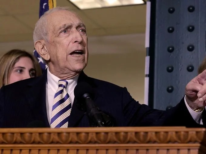 Sen. Frank Lautenberg, D-N.J., speaks in Paterson, N.J., on Feb. 15, 2013.  The liberal Democrat died early June 3 at the age of 89, his office said.