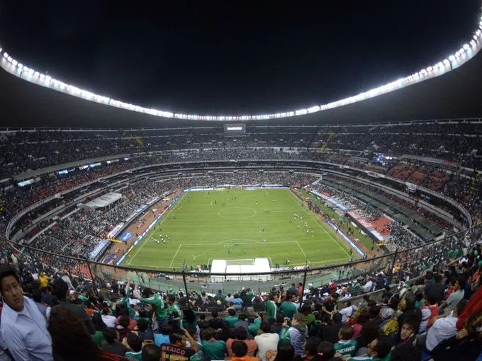 General view of a World Cup qualifying match between the United States and Mexico at Estadio Azteca.