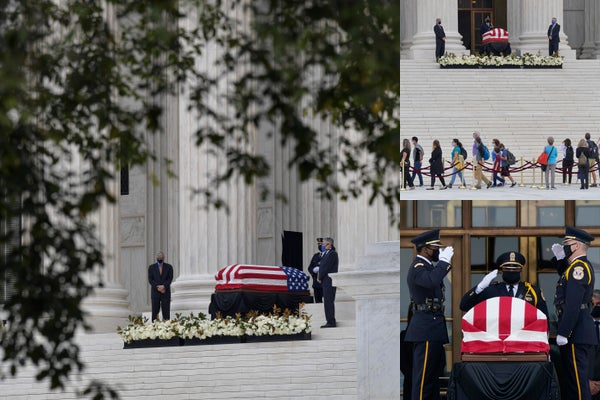 Ruth Bader Ginsburg lies in repose at US Supreme Court