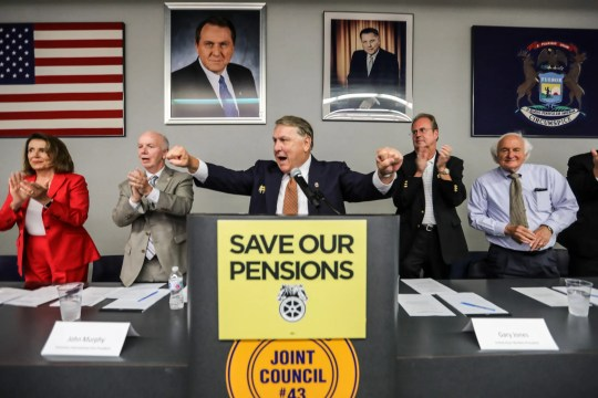 James P. Hoffa, general president for the International Brotherhood of Teamsters, speaks during a town hall dicsussing workers' pensions alongside Minority Leader of the United States House of Representatives Nancy Pelosi, Teamsters International Vice President John Murphy, United Auto Workers President Gary Jones, and Congressman Sandy Levin at the Teamsters Health and Welfare Building in Detroit on Friday, July 20, 2018.