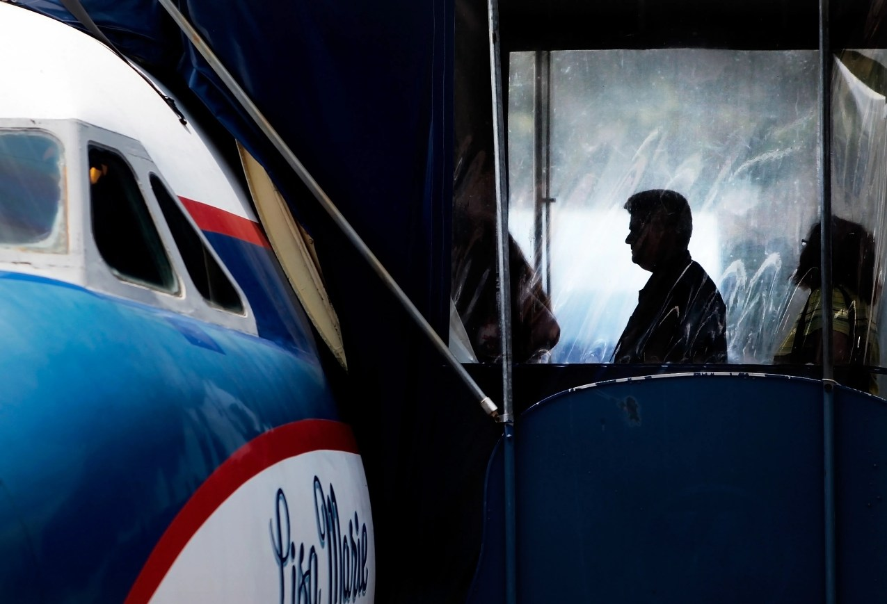 Aug. 9, 2014: Tourists line up to board the Lisa Marie, Elvis' private plane, during a tour of Graceland in Memphis.