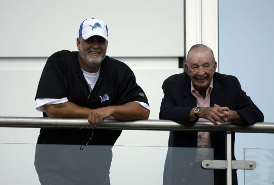 Lions president & CEO Matt Millen and team owner William Clay Ford watch during the afternoon session of training camp on July 24, 2008, at the Allen Park practice facility.